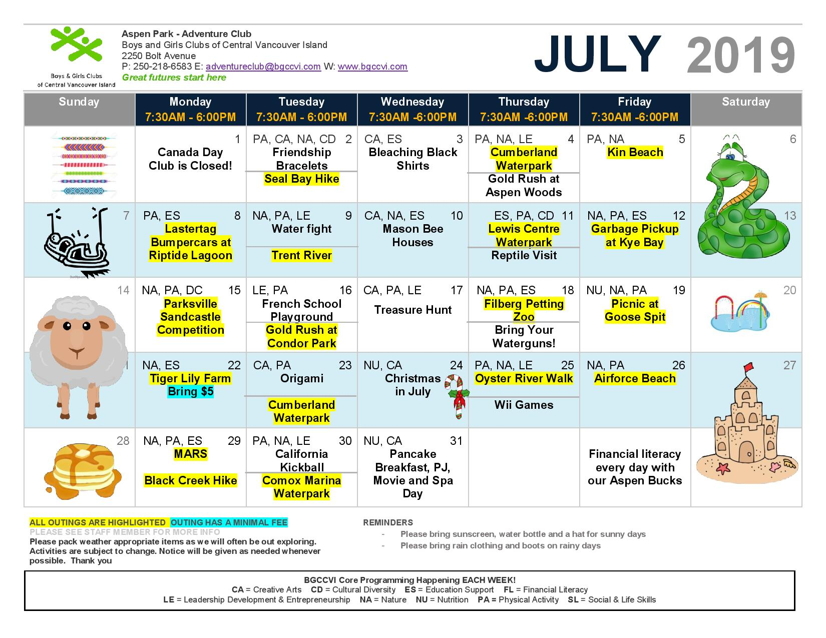 Calendar July 2019 Ac Page 001 Boys Girls Clubs Of Central